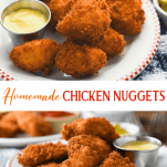Long collage image of homemade chicken nuggets