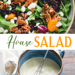 Long collage image of house salad recipe