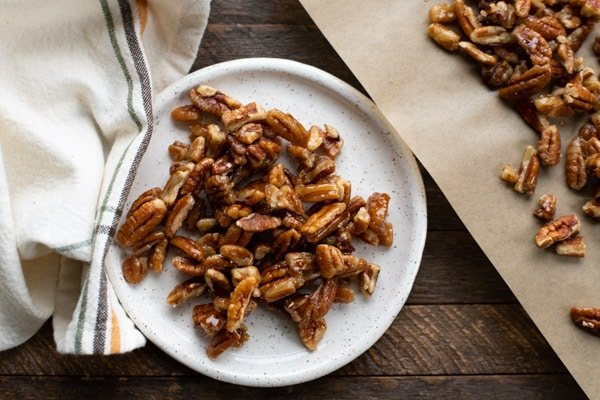 Plate of homemade candied pecans