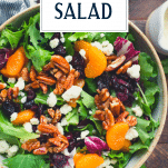 Overhead image of a bowl of salad with text title overlay