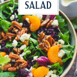 Overhead shot of house salad recipe with candied pecans