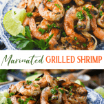 Long collage image of marinated grilled shrimp