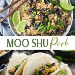 Long collage image of easy moo shu pork recipe