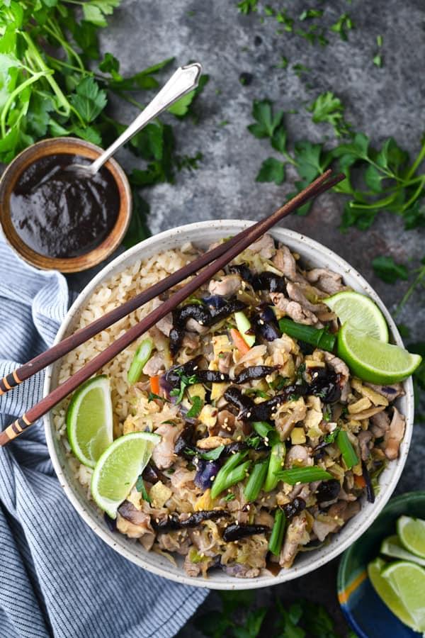 Overhead shot of an easy moo shu pork recipe served over rice