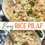 Long collage image of rice pilaf recipe