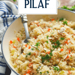 Close up shot of rice pilaf with a text title overlay