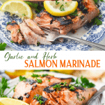 Long collage image of Salmon Marinade