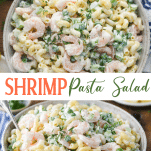 Long collage image of Shrimp Pasta Salad