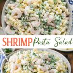 Long collage image of Shrimp Pasta Salad