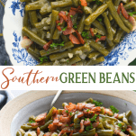 Long collage image of southern style green beans