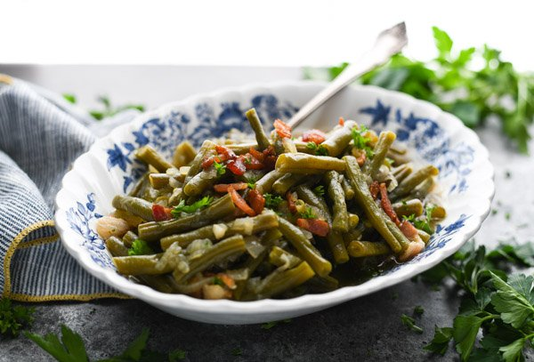 Horizontal shot of a bowl of country style green beans