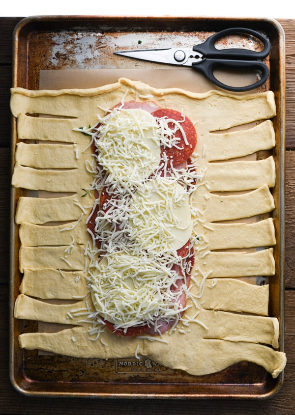 Overhead shot of how to assemble stromboli