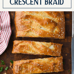 Overhead shot of an easy stromboli recipe with a text title box at the top
