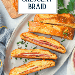 Platter of easy Stromboli recipe with text title overlay