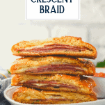 Stack of stromboli sandwiches with text title overlay