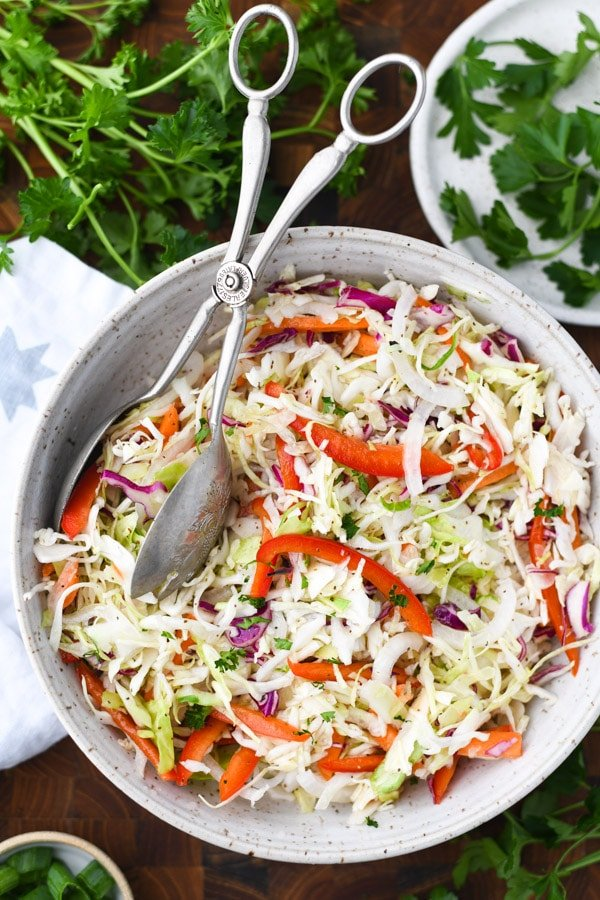 Close overhead image of bowl of old fashioned coleslaw with vinegar