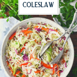 Southern vinegar slaw in a bowl with text title overlay