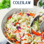 Vinegar coleslaw in a bowl with text title overlay