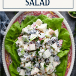 Overhead shot of Waldorf Salad on a red and white tray with text title box at top