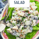 Overhead shot of Waldorf Salad on a plate with text title overlay
