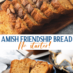 Long collage image of Amish Friendship Bread without starter