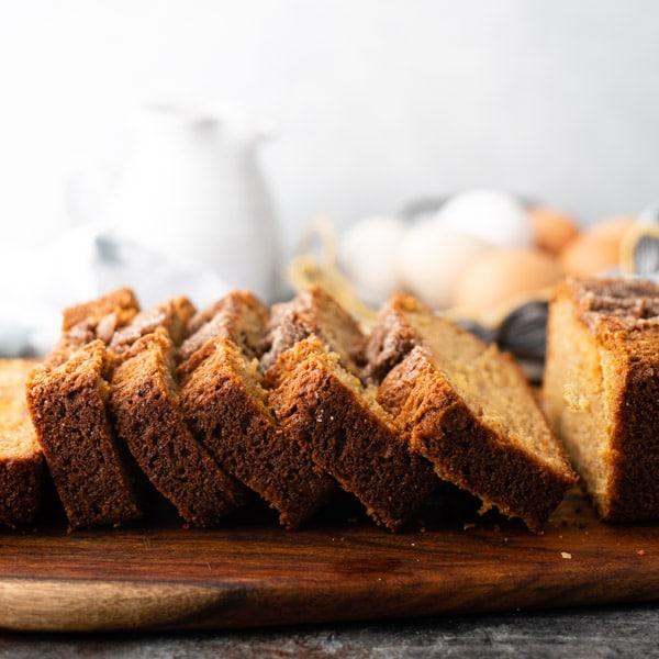 Square side shot of a loaf of sliced no starter Amish Friendship Bread