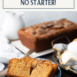 Amish friendship bread without starter on a plate with text title box at top