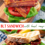 Long collage image of BLT sandwich with basil mayo