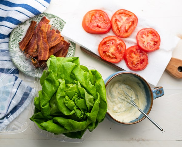 Overhead image of classic BLT sandwich ingredients