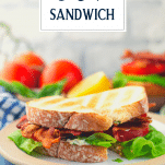 BLT sandwich on a plate with text title overlay