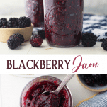 Long collage image of blackberry jam