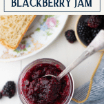 Easy blackberry jam with text title box over top