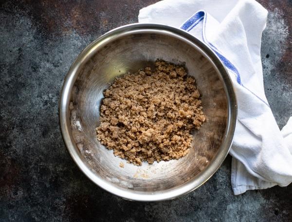 Cinnamon streusel in a bowl