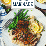 Plate of grilled chicken thighs with text title overlay