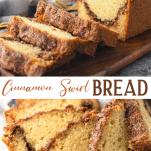 Long collage image of Cinnamon Swirl Bread