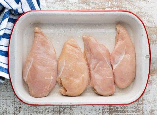Chicken breast in a baking dish
