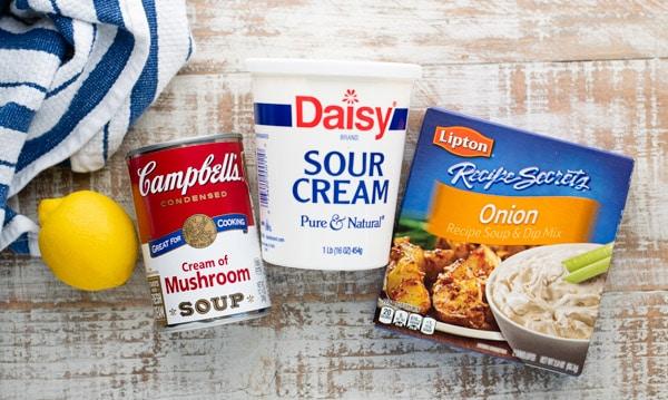 Ingredients for cream of mushroom chicken