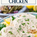 Baked cream of mushroom chicken with text title box at top