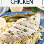 Sliced chicken breast with cream of mushroom soup with text title box at top