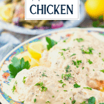 Baked cream of mushroom chicken on a platter with text title overlay