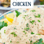 Front shot of cream of mushroom chicken with text title overlay
