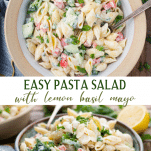 Long collage image of easy pasta salad