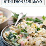 Side shot of a bowl of the best pasta salad recipe with text title box at top