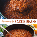 Long collage image of homemade baked beans