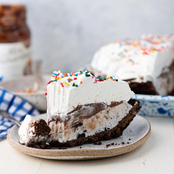 Square shot of a slice of chocolate ice cream pie recipe