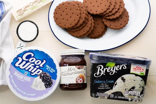 Ingredients for ice cream pie recipe