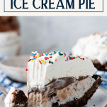 Close side shot of layered ice cream pie on a plate with text title overlay
