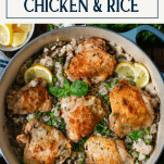 Overhead image of one pot chicken and rice bake with text title box at top
