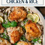 Chicken thighs and rice in a Dutch oven with text title box at top