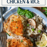 Close up shot of a plate of one pot chicken and rice with text title box at top